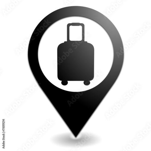 Canvas-taulu valise sur symbole localisation noir