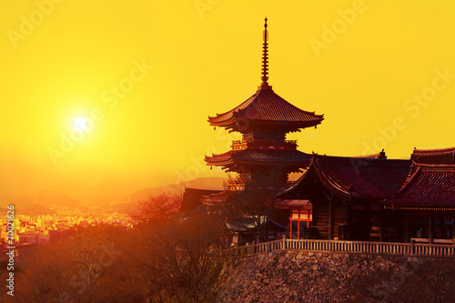 Photo sur Toile Japon Magical sunset over Kiyomizu-dera Temple, Kyoto, Japan