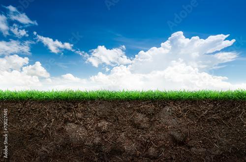 Bleu ciel Soil and grass in blue sky