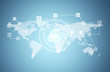 Network, circles and world map