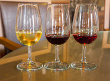 Glasses Of  White And Ruby Port Wine
