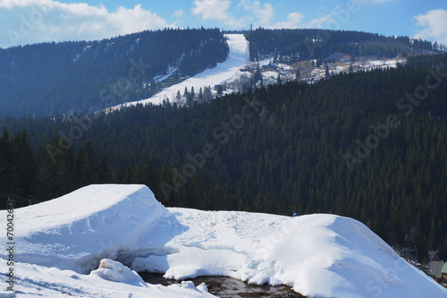 Fotografie, Obraz  Snowpark in the middle of a snowy mountain.
