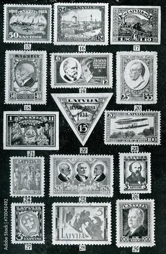 Valokuva  Latvian stamps ca. 1930