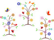 Colorful Tree Vectors, Flowers, Butterflies, Birds