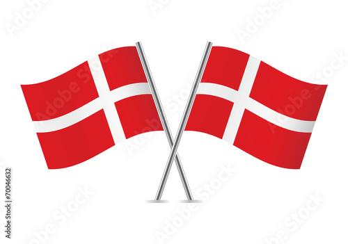 Denmark flags. Vector illustration. Fototapete