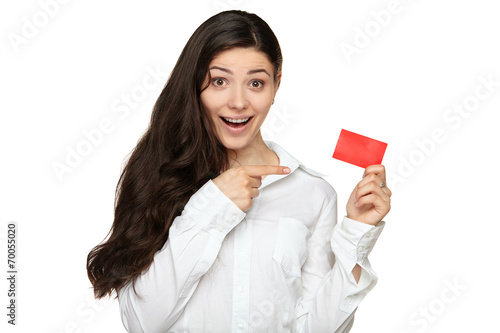 Photo  Showing woman presenting blank gift card sign