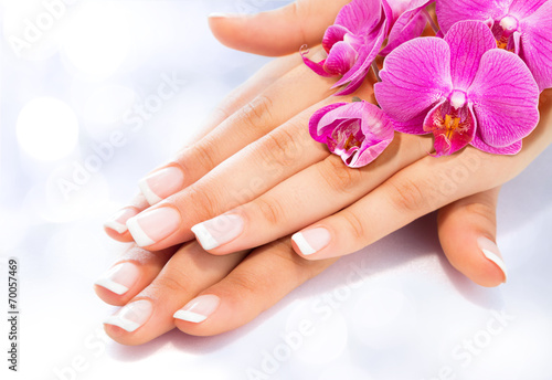 Printed kitchen splashbacks Manicure french manicure with orchids