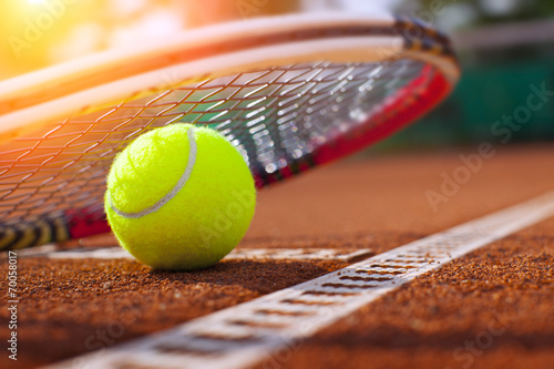 .tennis ball on a tennis court Poster