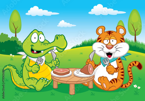 Acrylic Prints Dinosaurs Vector illustration of Cartoon crocodile and tiger eating