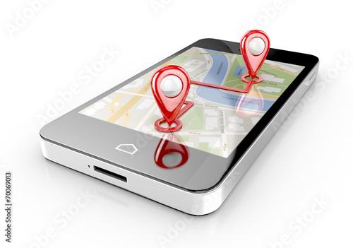 Fotografia  smart phone navigation - mobile gps 3d illustration