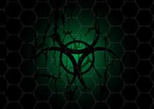 Biohazard Dark Green Symbol Behind Mesh Metal