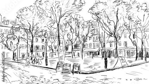 Deurstickers Illustratie Parijs Street in paris. Eiffel tower -sketch illustration