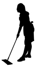 Silhouette Man Sweeping Floor With Mop