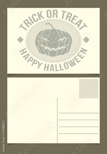 Halloween Postcard Template Front And Back Sides Buy This