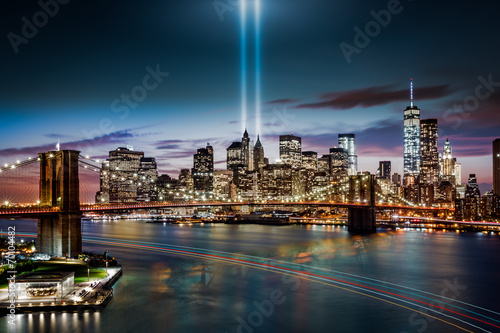Fényképezés  Tribute in Light memorial, on September 11th, in New York City
