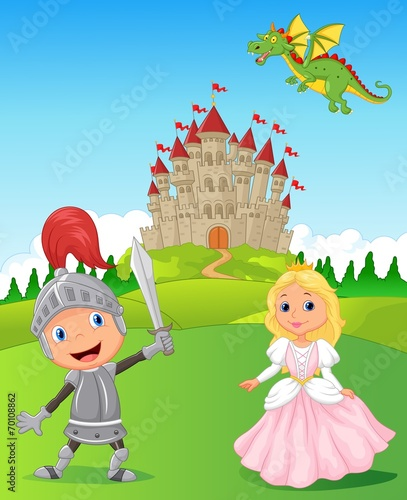 Foto op Canvas Kasteel Knight, princess and dragon