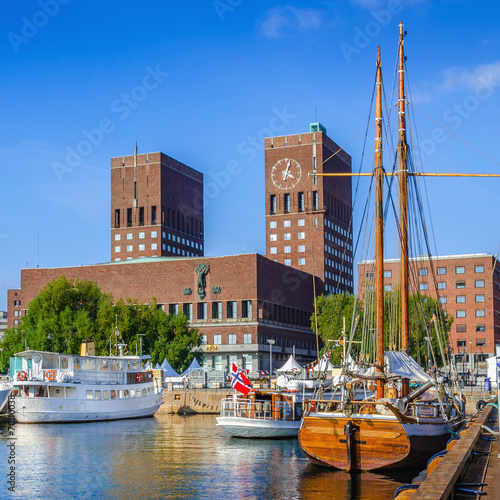 Photo  Harbor with boats and town hall in Oslo, Norway