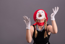 Portrait Of Female Mime With R...