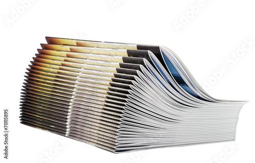 Photographie  Tas de magazines isolé sur fond blanc