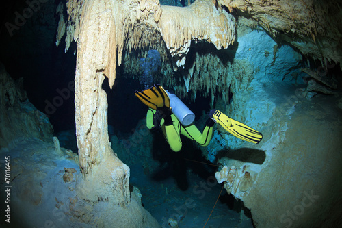 Foto op Aluminium Duiken Cave diving in the cenote underwater cave