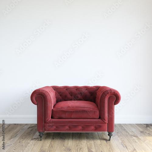 Fotografie, Obraz  Single Red Velvet Armchair In Minimalist Interior Room