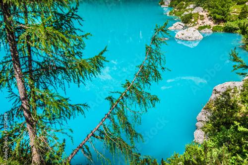 In de dag Turkoois Alpin lake Sorapis - Italian Dolomites stunning landscape.