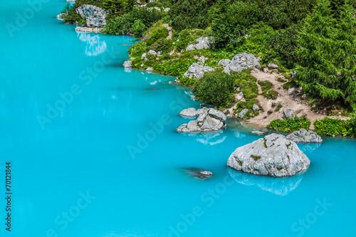Spoed Foto op Canvas Turkoois Alpin lake Sorapis - Italian Dolomites stunning landscape.