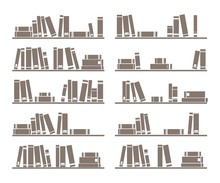 Books On Shelf Vector Illustration Isolated On White Background