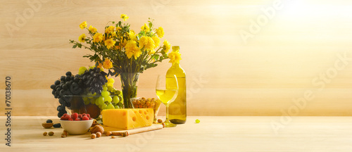 Fototapeta Still life with a glass of white wine obraz