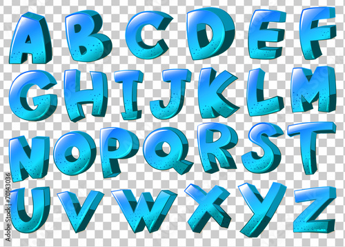Letters of the alphabet in blue colors Poster