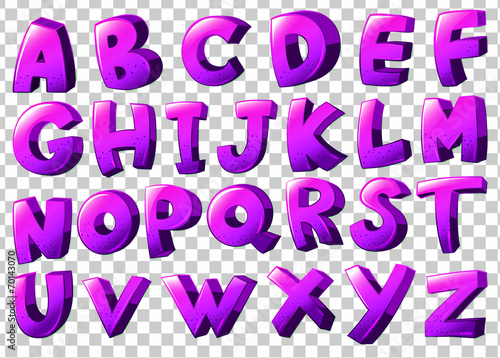 Photo  Purple letters of the alphabet