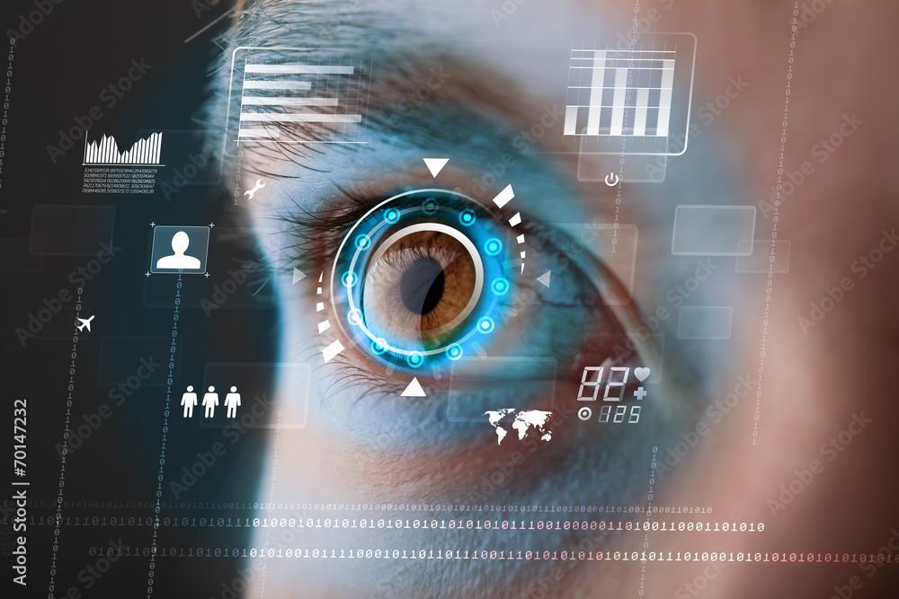 Fototapeta Future woman with cyber technology eye panel concept