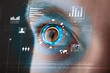 Leinwanddruck Bild - Future woman with cyber technology eye panel concept