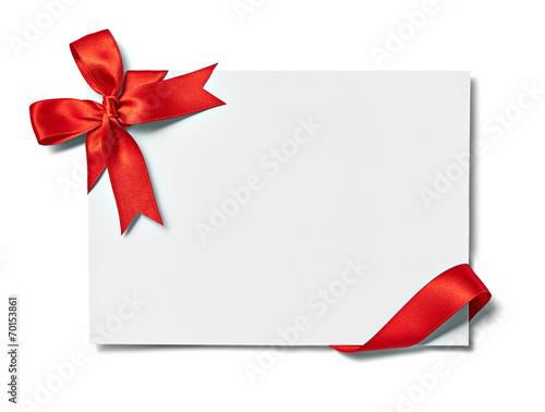 Fotografia  Wstążka kokarda kartka notatka pozdrowienie uroczystości chirstmas