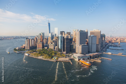Montage in der Fensternische New York New York Downtown Aerial View