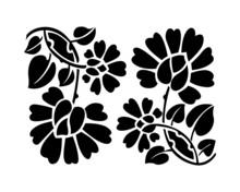 Black Flower Pattern. Vector Illustration