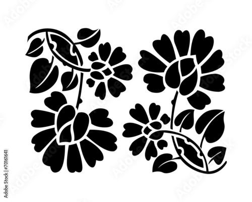 czarny-kwiatki-ilustracji-wektorowych