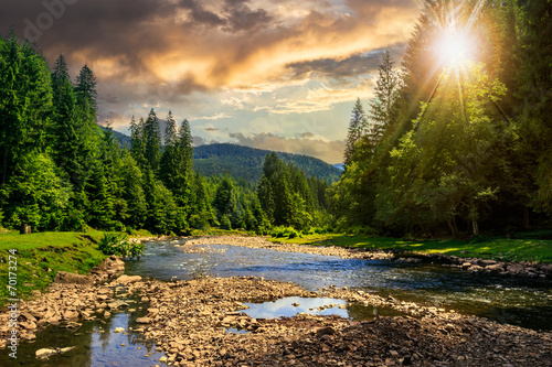 Printed kitchen splashbacks River forest river with stones in mountains at sunset