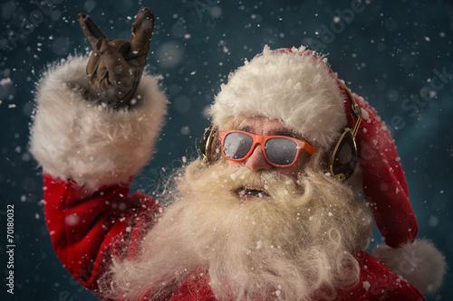 Papiers peints Magasin de musique Santa Claus is listening music