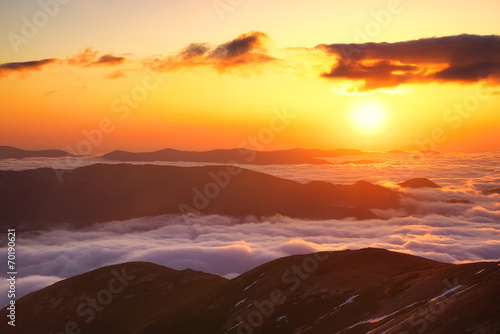 Mountain valley during sunset. Beautiful natural landscape