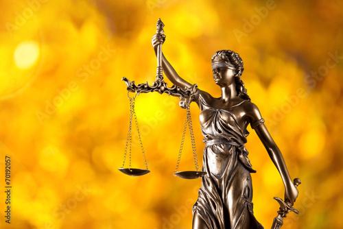 Fotografie, Obraz  Themis in spotlight, law concept.