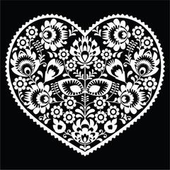 Polish white folk art heart pattern on black - wzory lowickie
