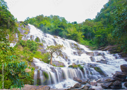 Foto op Aluminium Bos rivier A beautiful waterfall in northern Thailand