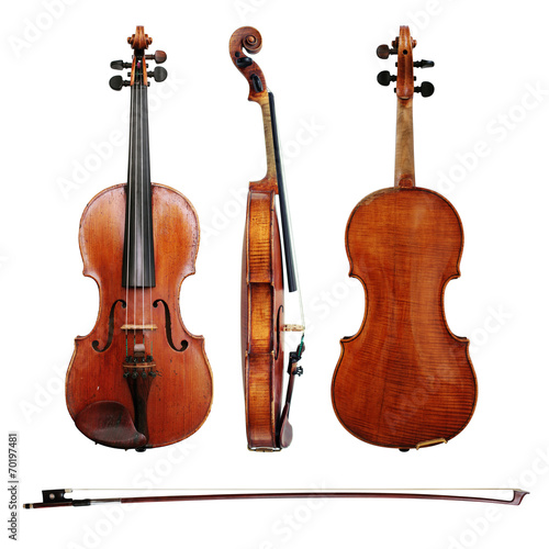 Obraz na plátne Violin and bow on white background