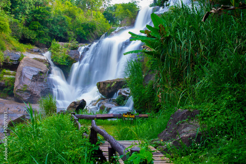 Fototapeten Forest river A beautiful waterfall in northern Thailand