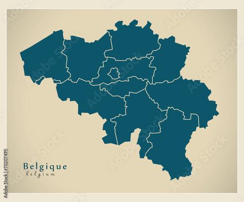 Moderne Landkarte - Belgien BE Canvas Print