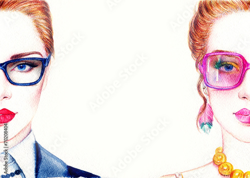 Foto op Canvas Aquarel Gezicht woman in glasses