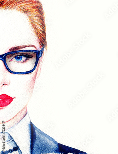 Staande foto Aquarel Gezicht woman in glasses
