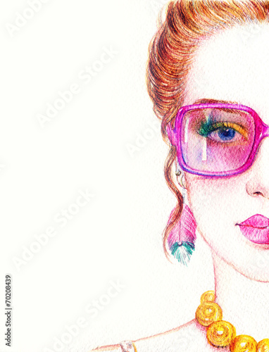 Deurstickers Aquarel Gezicht woman in glasses