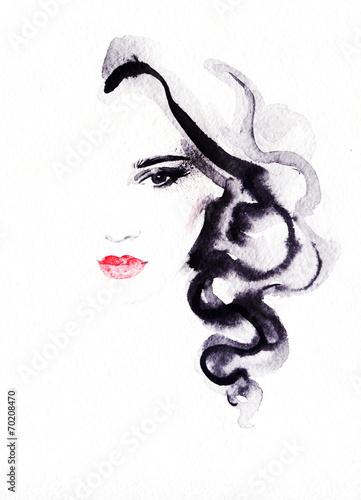 Poster Aquarel Gezicht woman portrait .abstract watercolor .fashion background
